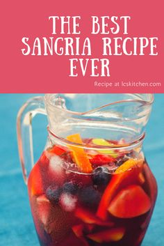 The BEST sangria recipe ever from Spain. Made from scratch, can be made in one bowl in less than 5 minutes. One of the most popular recipes on LCSKItchen. Sangria Drink, Red Wine Sangria, Summer Sangria, Summer Drinks, Cocktail Drinks, Moscato Sangria, White Peach Sangria, Sangria Alcohol, Sangria Recipes