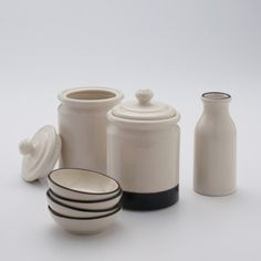 I really like this line of dinnerware.  Blackline Stoneware Bowls  $16.00