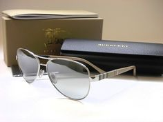 100% AUTHENTIC AND NEW  BURBERRY SUNGLASSES  BE3080 1005/6V  MODEL#018  PRICE: $1800.00  GLASSES COME WITH ORIGINAL BURBERRY, BOX, CASE, CLEANING CLOTH AND PAPERWORK. MEASUREMENTS: 54-14-135  Frame Material: Metal Frame Color: Silver Lens Technology: Mirrored Style: Aviator Country/Region of Manufacture: Italy Lens Color: Grey Mirror Silver