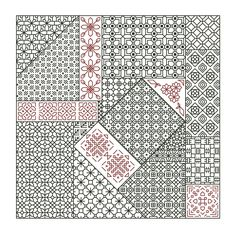 CRAZY PATCH Blackwork / Backstitch Pattern / Chart - Counted Cross Stitch - geometric design embroidery by NoFrogsAllowed on Etsy