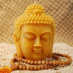 Pure Beeswax BIG Buddha Head Sadhana Meditation Contemplation Altar Candle