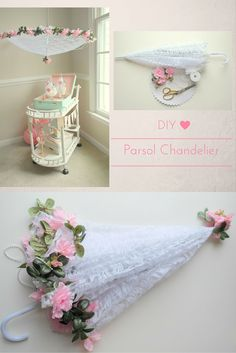 This chic chandelier adds a feminine touch, perfect for any tea party! This gorgeous, must-have parasol can be created at home with a few simple DIY supplies. It's as simple as enhancing it with flowers, a few greens, and a touch of pearls. For more vintage tea party ideas, @sweetlychicdes has you covered on the OTC blog.