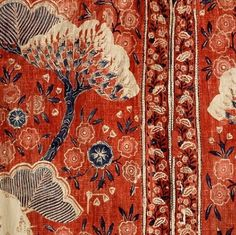 Detail of early-18th-century chintz banyan (man's morning robe). The Met via Style Court. Painted and dyed in India (Coromandel Coast) for the Dutch market. - Follow the link on Style Court to see the amazing robe
