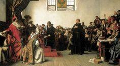 Luther julistettiin kirkonkiroukseen vuonna 1921 ja hänet kutsuttiin Wormsin valtiopäiville puolustamaan kirjoittamiaan teesejä. Luther ei kuitenkaan perunut kirjoituksiaan, vaan perusteli kirjoittamiaan ajatuksia Raamatun teksteillä. Lutherin mukaan hänen omatuntonsa oli sidottu Jumalaan eikä hän siksi voinut perua puheitaan.