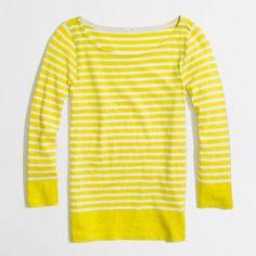 Factory stripe boatneck tee long-sleeve tees ($40) ❤ liked on Polyvore