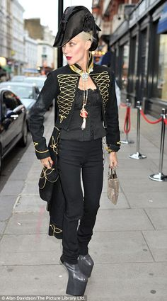 GOD,  I LOVE YOU  Ahoy Admiral! Daphne Guinness wore an Admiral-style coat and hat to the Christie's auction of her fashion collection last night in London