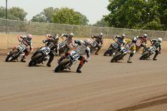 Brandon Robinson leading a full field into turn three at Springfield Flat Track Motorcycle, Flat Track Racing, Road Racing, Flat Tracker, Grand National, Dirt Track, Sport Bikes, Cool Bikes