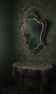 ~I find it amazing when beautiful things are left behind too. haunting mirror with spooky reflection Dark Fantasy, Magic Mirror, Mirror Mirror, Mirrors, Ornate Mirror, Mirror Stairs, Gothic Mirror, Mirror Glass, Mirror Ideas