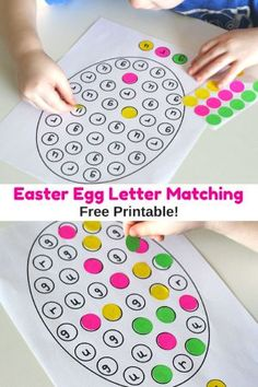 This Easter egg letter matching printable is a great way to create a lovely Easter decoration while learning letters of the alphabet! Included printable!