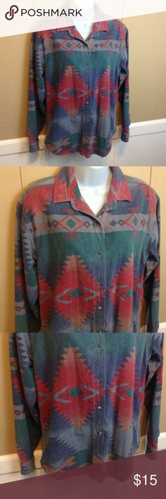 """Woolrich Southwestern Print Button Down Shirt Maker: Woolrich ♥ Material: Cotton ♥ Color: Multi Print Southwest  ♥ Measured Size: Pit to pit- 19"""" Pit to cuff- 18"""" Shoulder to waist- 28""""  ♥ Tag Size:  M ♥ Actual Size: M PLEASE CHECK YOUR ACTUAL MEASUREMENTS TO MAKE SURE IT IS THE RIGHT SIZE! THANKS! ♥ Condition: Great Used Condition ♥ Item #: (office use only) A  Follow us on Instagram and facebook for coupon codes!  INSTAGRAM-thehausofvintage1984 Facebook- intergalactic haus of vintage 1984…"""
