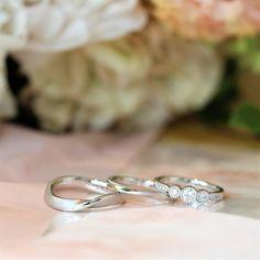 メビウスがモチーフの結婚指輪と、ミルグレイン加工を飾った可憐な雰囲気の婚約指輪 [engagement,wedding,marriage,ring,bridal,diamond,ダイヤモンド,エンゲージリング,婚約指輪,結婚指輪,オーダーメイド,ウエディング,ith,イズマリッジ]