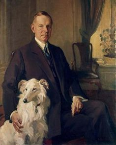 Portrait of Calvin Coolidge, 1931 by DeWitt McClellan Lockman (AMERICAN, President /// My favorite US president (from Vermont, of course!) and his white Collie. Presidents Wives, Republican Presidents, Black Presidents, American Presidents, American History, American Soldiers, British History, Native American, Mary Cassatt