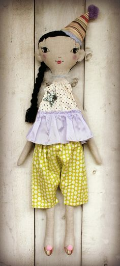 Handmade linen doll with embroidered face. by LolawithLoveDolls