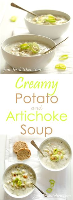 Vegan and gluten-free Cream of Potato and Artichoke Soup More