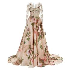 Marchesa Rose Print Lace Gown ❤ liked on Polyvore featuring dresses, gowns, floral print evening gown, evening cocktail dresses, floral embroidered dress, lace cocktail dress and white lace dress