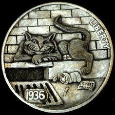 HOWARD THOMAS HOBO NICKEL - ALLEY CAT - 1936 BUFFALO NICKEL