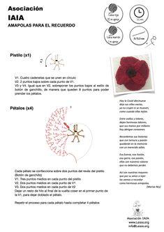 AMAPOLA DE GANCHILLO Lana, Crochet Poppy, Poppies, Miniatures, Patterns