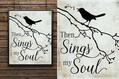 Then Sings My Soul - Original Art Design - Outline Drawings, Animal Drawings, Pallet Signs, Wood Signs, Bird Template, Then Sings My Soul, Soul Art, Silhouette Art, Glass Blocks