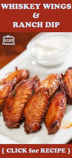 Easy gameday snack! Really want to try this recipe from Rachael Ray for baked chicken wings with a sauce made with bourbon and brown sugar, yum! Plus recipes for signature hot wings, and a blue cheese ranch dipping sauce