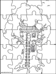 Printable jigsaw puzzles to cut out for kids Houses 8 Coloring Pages