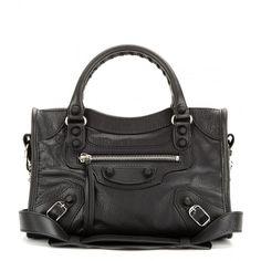 Balenciaga Classic Mini City Leather Bag ($1,275) ❤ liked on Polyvore featuring bags, handbags, purses, balenciaga, bolsas, black, mini leather handbags, black leather purse, leather purse and black studded purse