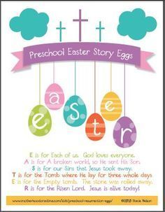 Lovely FREE Printable: Christian Easter Story Egg Poem {Adapted For Preschool}  Free Printable Religious Easter Cards