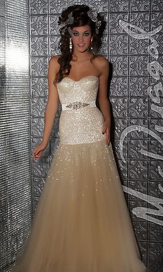 Strapless Sequin Gown by Mac Duggal at PromGirl.com