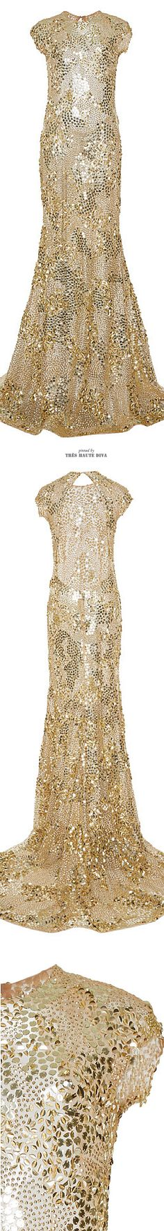 White and Gold Wedding. Gold Bridesmaid Dress. Elegant and Glamorous. Naeem Khan Gold Sequin Gown ♔ SS 2015