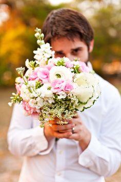 pink white green bouquet