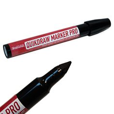 """QuickDraw Marker Pro  The premier marker for cartooning and caricature art, the Quikdraw Marker Pro is designed for fast sketching in a deep black ink.    The Big Bullet tip gives the artist great line-width control and the ability to do quick fills when used at a deep angle, but is still capable of very fine lines with a light touch. The tip is 3/8"""" long and about a 1/3"""" wide at the base."""