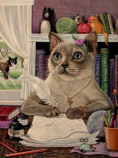Cat Kitten writes letter mail ACEO print from original oil by Joy Campbell