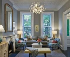 Bergen Street Residence - contemporary - living room - new york - by CWB Architects Benjamin Moore Conventry Grey walls Living Room New York, Home Living Room, Living Room Designs, Living Spaces, Apartment Living, Apartment Design, York Apartment, Grey Room, Living Room Grey
