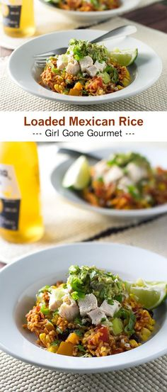 Mexican rice garnished with chicken, easy guacamole, cheese, and cilantro   girlgonegourmet.com Mexican Rice Recipes, Mexican Dishes, Mexican Cooking, Rice Dishes, Main Dishes, Guacamole, International Recipes, Dinner Recipes, Dinner Ideas