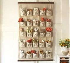 Burlap Sack Advent Calendar: love this! I want to have an advent calendar for Zoë, this one is great and easy to store! Christmas Countdown, Christmas Calendar, Noel Christmas, Burlap Christmas, Thanksgiving Countdown, Christmas Wishes, Family Christmas, Christmas Ideas, Pottery Barn Advent Calendar