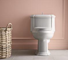 LOVE Kohler's Portrait one piece toilet Rosy pink bathroom Bathroom Sink Faucets, Bathroom Fixtures, Clawfoot Bathtub, Bathrooms, Kitchen And Bath Showroom, Kohler Toilet, Fruit Shakes, Floor Colors, Bathroom Styling