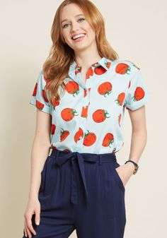 Appreciation abounds for the tomato print atop this light blue button up - a freshly-picked from Compania Fantastica! Between its cuffed short sleeves,...