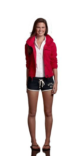 Ambercrombie Look Date on the Deck with:  Camille Jacket in Red  Alyssa Top in White  Shea Shorts in Navy  Classic Flip Flops in Brown