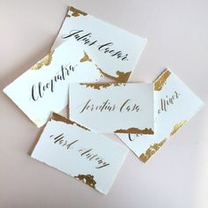 Shop confirmed custom escort cards for $2.50 or $2.75 with watercolor pattern :: includes hexagon shape and copper leafing