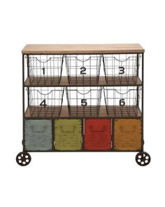 Wooden Top Roller Metal Cabinet with Colorful Storage Baskets In lovely colors this cart has six metal baskets and four colorful drawers below. Perfect for storing things of various natures: you can store files and papers in it with relative ease. Plus this product has got wheels, which means easy it is easy to move.