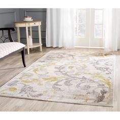 Safavieh Amherst Millard Power-Loomed Indoor/Outdoor Area Rug or Runner, Ivory/Light Grey, White