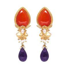 Red Onyx and Sapphire earrings | Kasturjewels