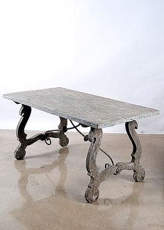 Spanish Antique Console Iron Trussle Table with Beautiful Patina