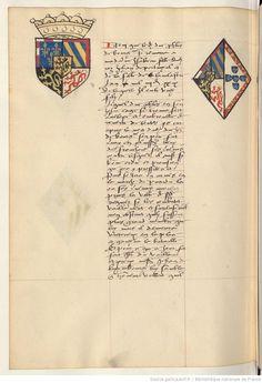 Coat of arms of Philip III, Duke of Burgundy and of Isabella of Portugal. Receuil de la généalogie de la noble maison de Luxembourg.