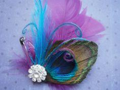 Bridal Hair Fascinator, Peacock, Feather Hair Piece, Wedding Hair Accessory, Purple, Teal, Blue  - PURPLE and BLUE PEACOCK. $32.00, via Etsy.