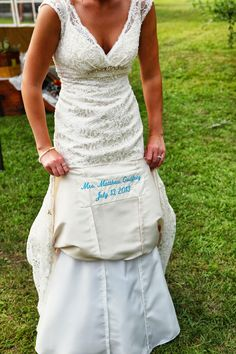 Romantic Country Living: Something Blue Embroidered on the Underside of Wedding Gown