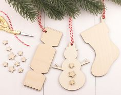 Artcuts design and make decorative gifts using hand silk screened papers wooden laser cut shapes, wooden cut shapes. Wooden Christmas Decorations, Holiday Decor, Wooden Shapes, Craft Materials, Wooden Crafts, Handmade Wooden, Craft Gifts, Christmas Stockings, Paper