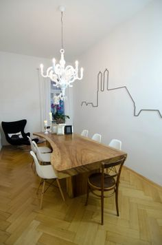 Munich, Wood Table,Vitra DSW, Moooi Paper Chandelier, Egg Chair
