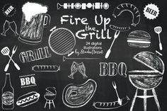 BARBEQUE CHALKBOARD CLIPARTS PLEASE NOTE: This clipart set is in white because of the chalkboard effect. * You will receive: - 1 ZIP folder with