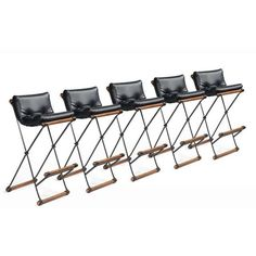 Image of Wrought Iron 'Ex' Frame Bar Stools by Cleo Baldon for Terra Furniture