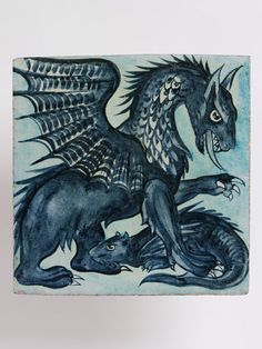 Blue Dragon Tile, 1882-1888 (made)     by William De Morgan, Merton Abbey Factory (maker)